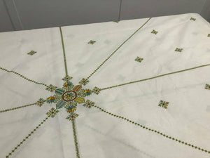 "Hand embroidered cotton tablecloth and napkins - Moroccan embroidery ""Fassia"" # 1 #"