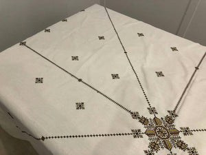 "Hand embroidered cotton tablecloth and napkins - Moroccan embroidery ""Fassia"" # 2 #"