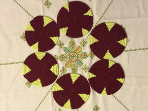 Moroccan Handmade Wool Placemat Set of 6 # 4