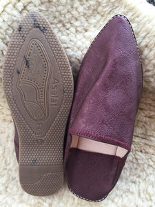 Moroccan Traditional Babouche, Handmade Leather Slippers - Silver & Maroon - AUALIRUG