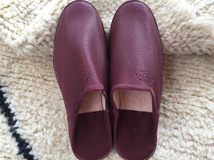 Moroccan Traditional Babouche, Handmade Leather Slippers - Maroon - AUALIRUG