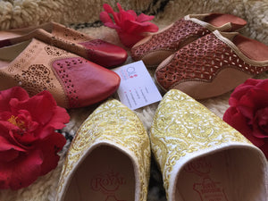 Handmade White Fabric & Gold Embroidery Leather Babouche Slippers,wedding slippers, birthday gift, Traditional slippers, Babouches