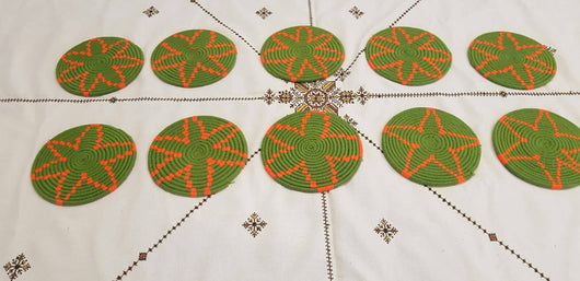 Moroccan Handmade Wool Placemat Set of 10 #  19