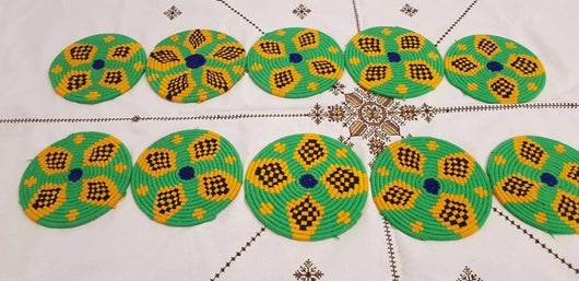 Moroccan Handmade Wool Placemat Set of 10 #  22