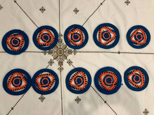 Moroccan Handmade Wool Placemat Set of 10 # 36