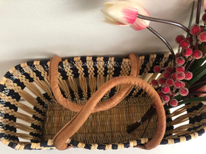 Handmade Moroccan Natural Basket with Leather Handle ,African Straw Bag,Shopping Bag,Handmade Bag WHOLESALE AVAILABLE No.30