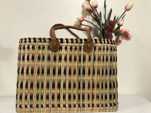 Handmade Moroccan Natural Straw Basket with Leather Handle ,African Straw Bag,Shopping Bag,Handmade Bag WHOLESALE AVAILABLE No.34