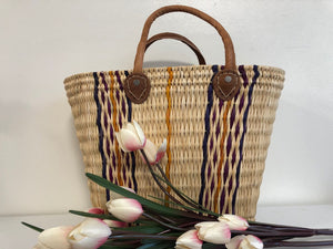 Handmade Moroccan Natural Basket with Leather Handle ,African Straw Bag,Shopping Bag,Handmade Bag WHOLESALE AVAILABLE No.45