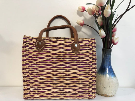 Handmade Moroccan Natural Basket with Leather Handle ,African Straw Bag,Shopping Bag,Handmade Bag WHOLESALE AVAILABLE No.48