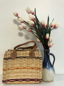 Handmade Moroccan Natural Basket with Leather Handle ,African Straw Bag,Shopping Bag,Handmade Bag WHOLESALE AVAILABLE No.50