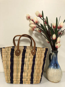 Handmade Moroccan Natural Basket with Leather Handle ,African Straw Bag,Shopping Bag,Handmade Bag WHOLESALE AVAILABLE No.55 - AUALIRUG