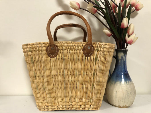 Handmade Moroccan Natural Basket with Leather Handle ,African Straw Bag,Shopping Bag,Handmade Bag WHOLESALE AVAILABLE No.57