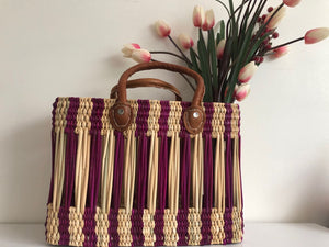 Handmade Moroccan Natural Straw Basket with Leather Handle ,African Straw Bag,Shopping Bag,Handmade Bag WHOLESALE AVAILABLE No.28