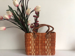 Handmade Moroccan Natural Basket with Leather Handle ,African Straw Bag,Shopping Bag,Handmade Bag WHOLESALE AVAILABLE No.32