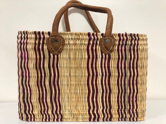 Handmade Moroccan Natural Straw Basket with Leather Handle ,African Straw Bag,Shopping Bag,Handmade Bag WHOLESALE AVAILABLE No.39