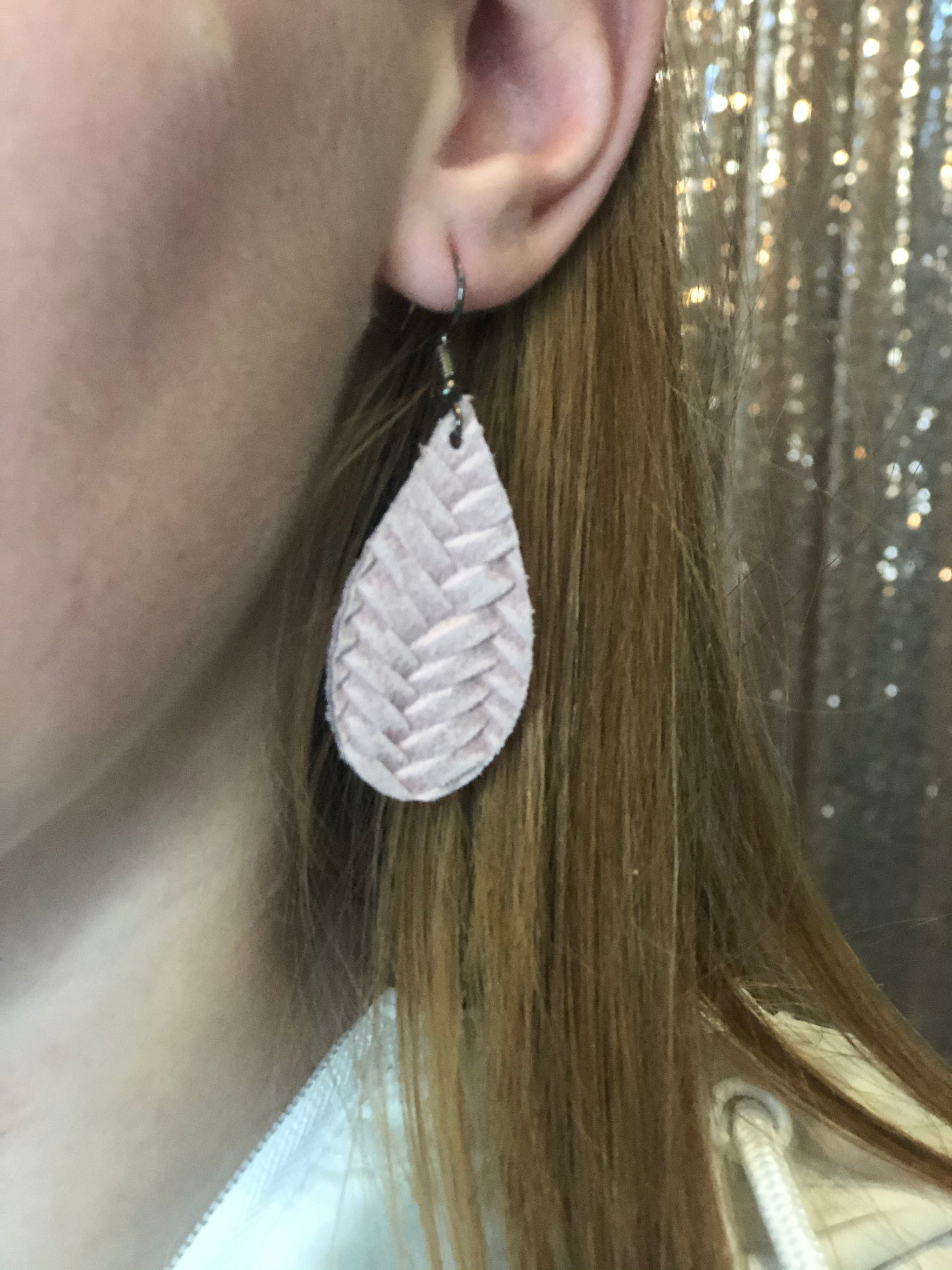 Mini Herringbone Tear Drop Earrings