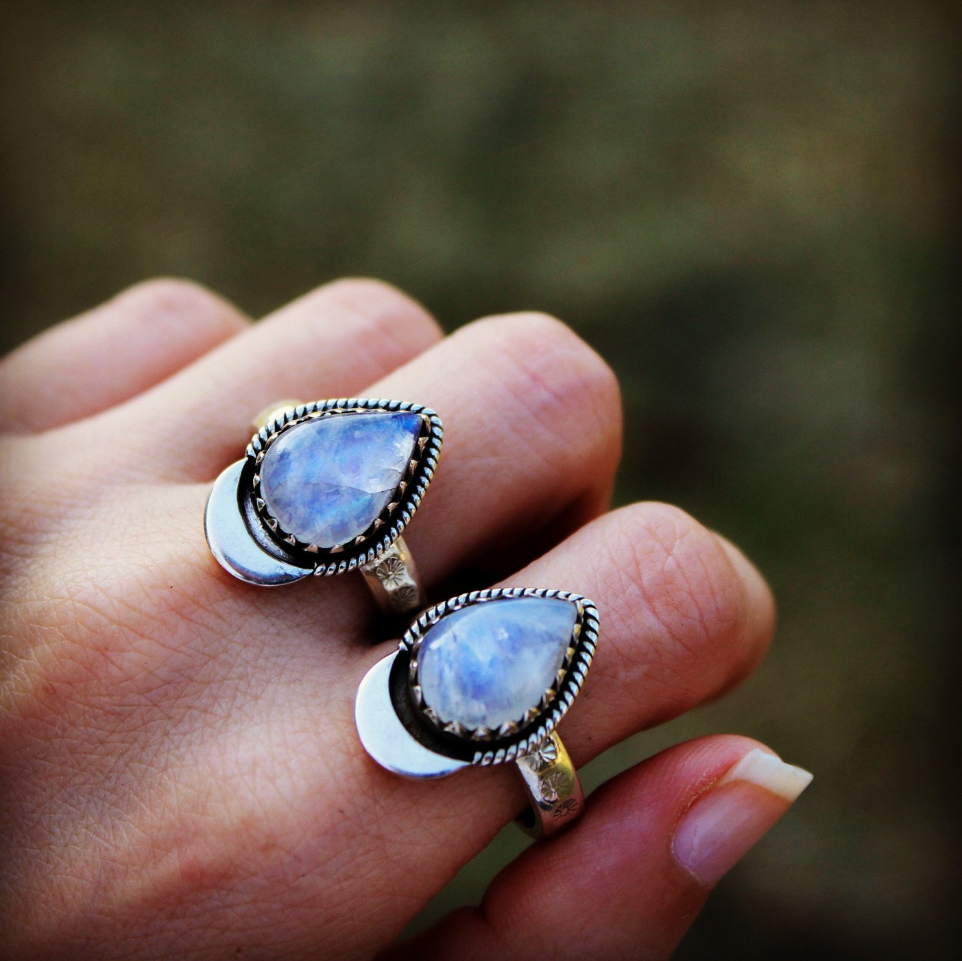 Crescent Moon Moonstone Ring, AR-2072 - Its Ambra