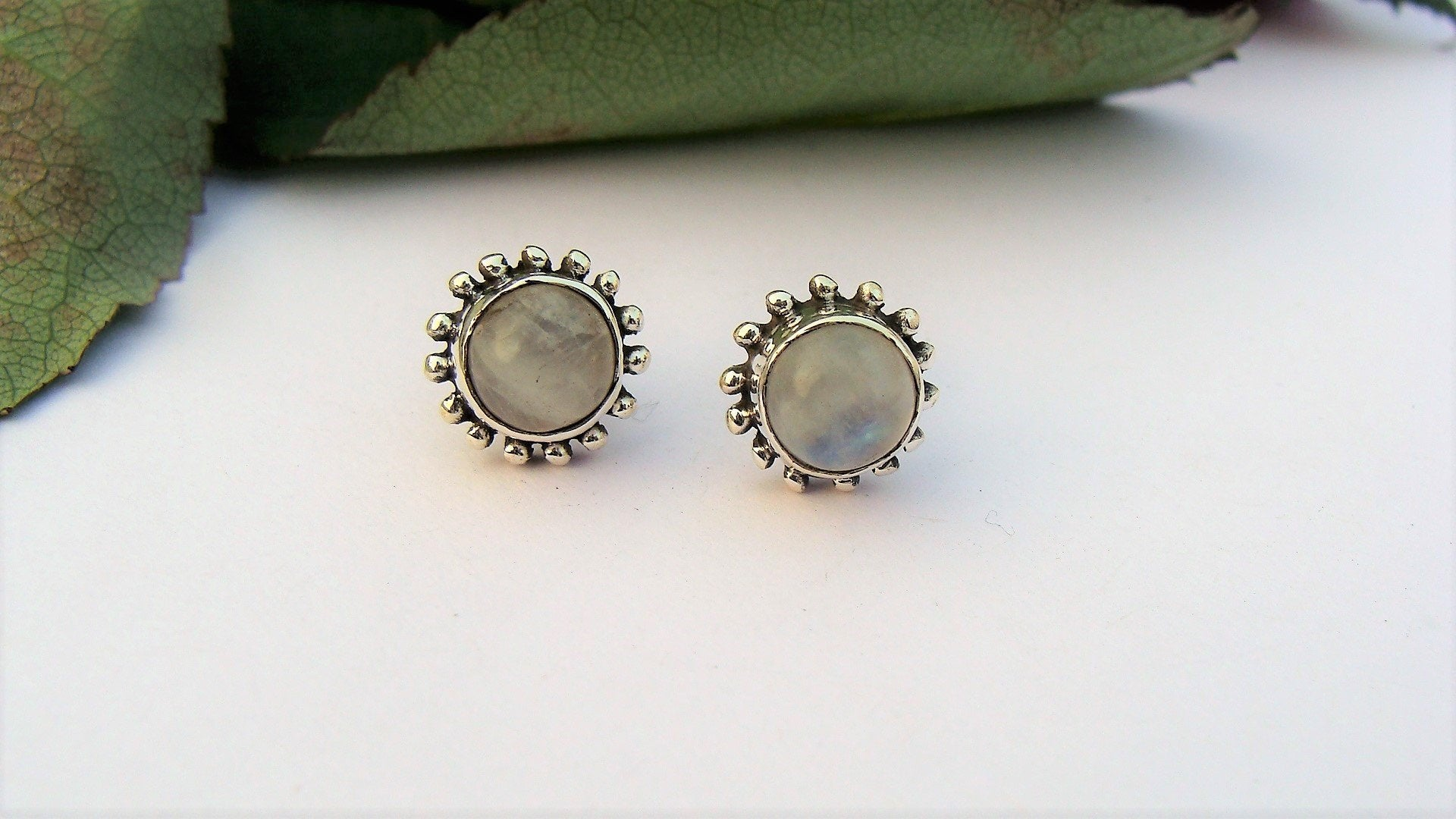 Moonstone Studs, Moonstone Gemstone Sterling Silver Stud Earrings, Natural Moonstone Studs, Moonstone Jewelry AE-1055