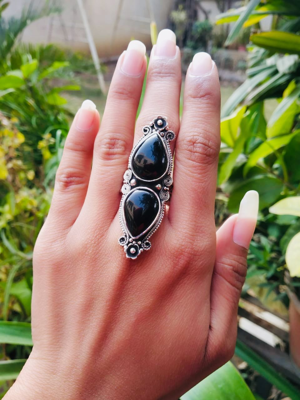 Handmade Sterling Silver Black Onyx Statement Ring AR-3009 - Its Ambra