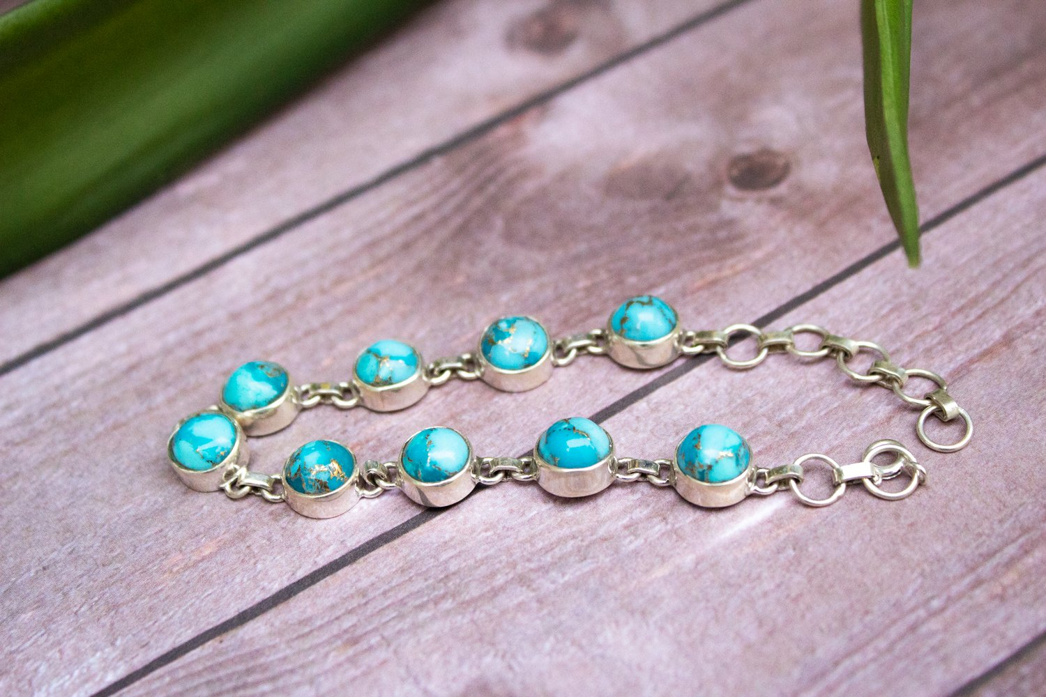 Sterling Silver Blue Copper Turquoise Bracelet