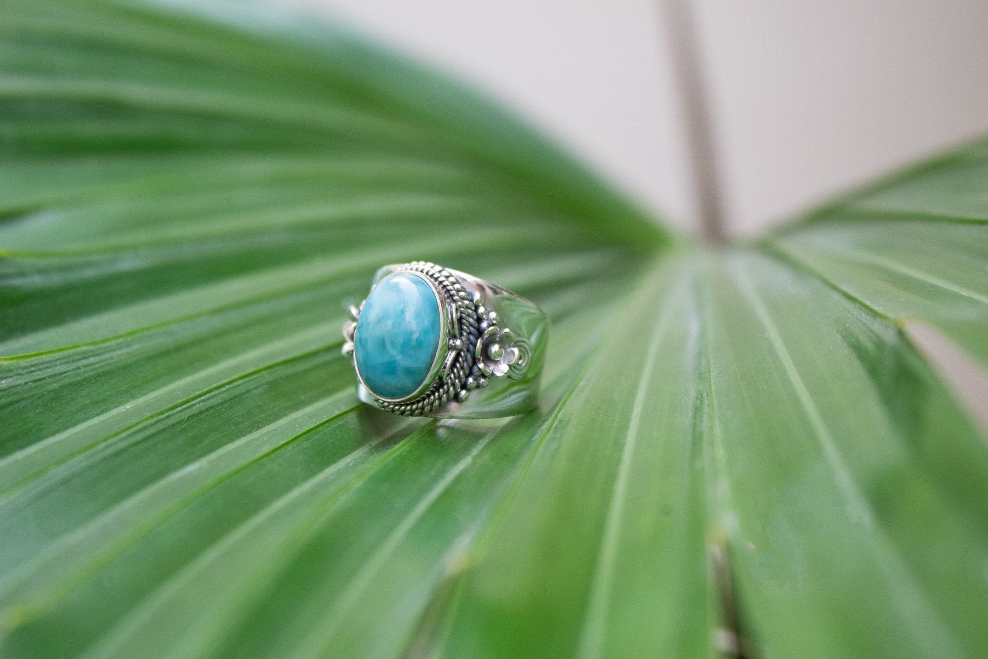 Dominican Republican Larimar Stone Ring, Wide Band Ring, Boho Gypsy Ring AR-1173