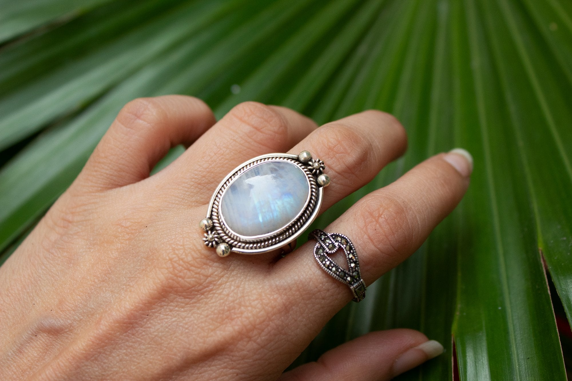 Artistic Moonstone Ring, June Birthstone AR-1009 - Its Ambra