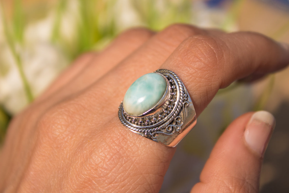 Wide Band Larimar Ring, Gypsy Style Handmade Ring AR-1179