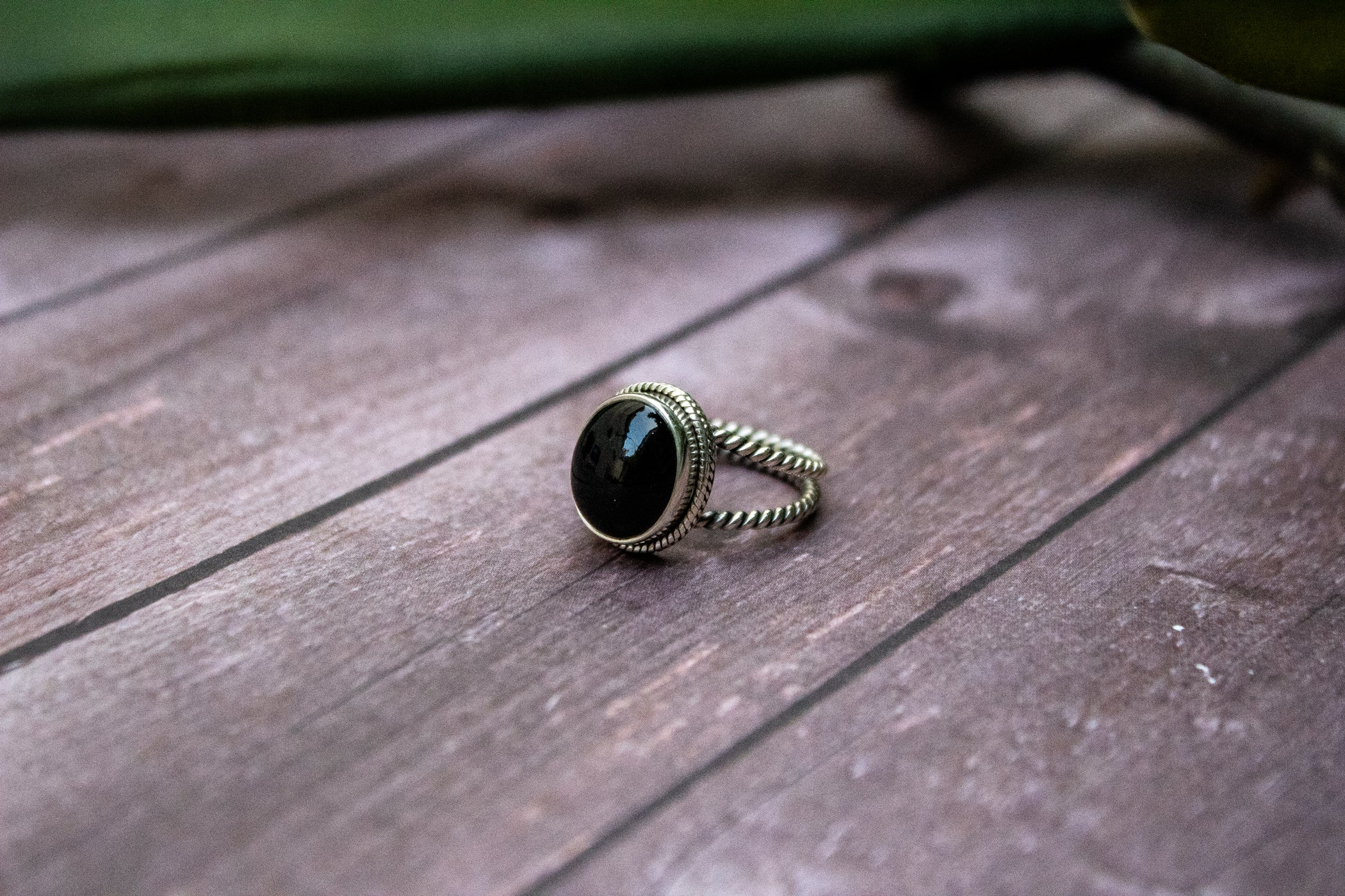 Twisted Wire Black Onyx Ring 925 Sterling Silver AR-3013
