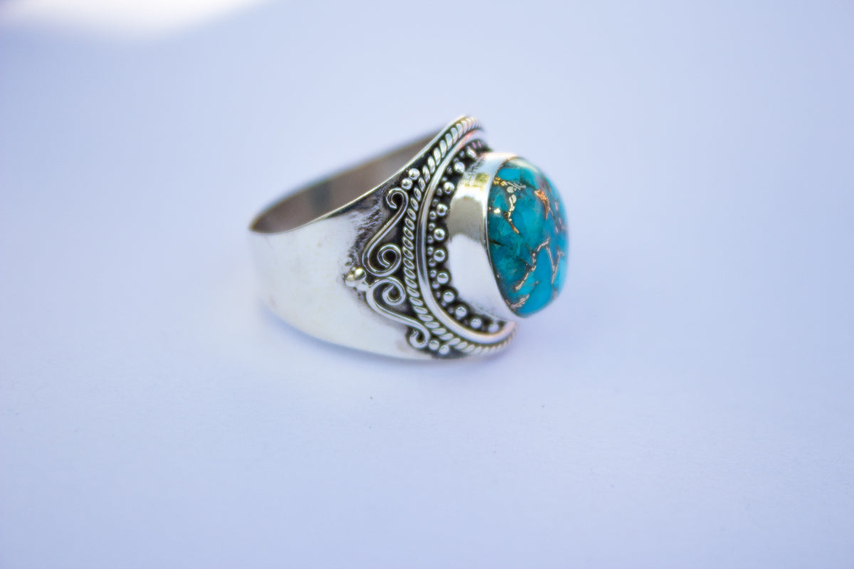 Turquoise Ring, Blue Copper Turquoise Sterling Silver Ring, Wide Band Ring, Handmade Ring, Boho Ring AR-1142