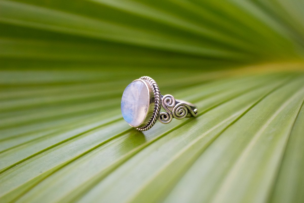Moonstone Ring Sterling Silver, Oval Shape Boho Ring AR-1108 - Its Ambra