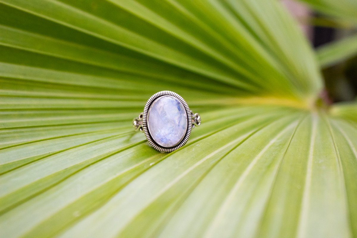 Rainbow Moonstone Ring Sterling Silver, Oval Shape Handmade Ring AR-1121 - Its Ambra