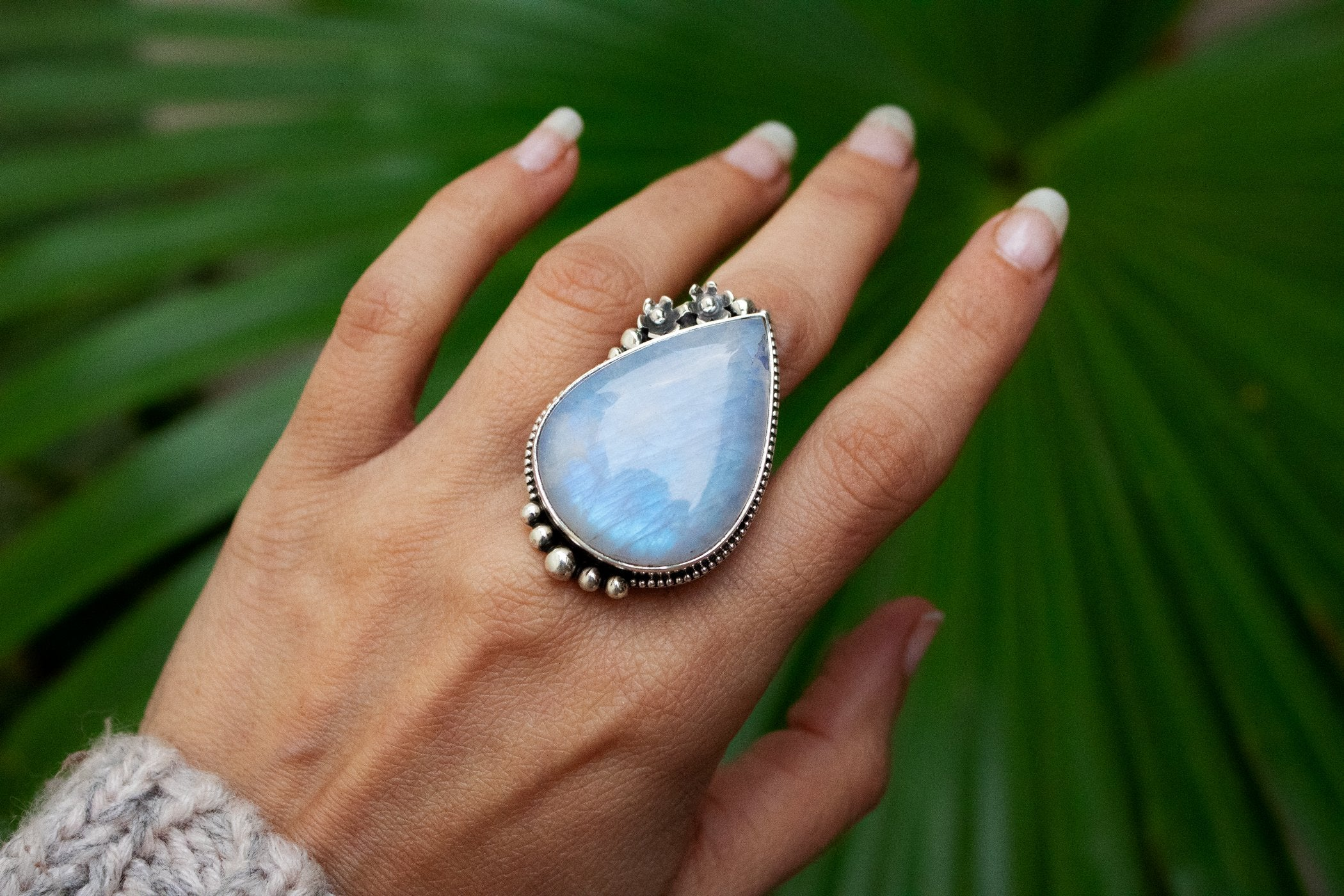 Moonstone Gemstone 925 Sterling Silver Ring, Moonstone Jewelry, Boho Ring, Rainbow Moonstone Ring, Natural Moonstone Ring, Fertility Ring AR-1100