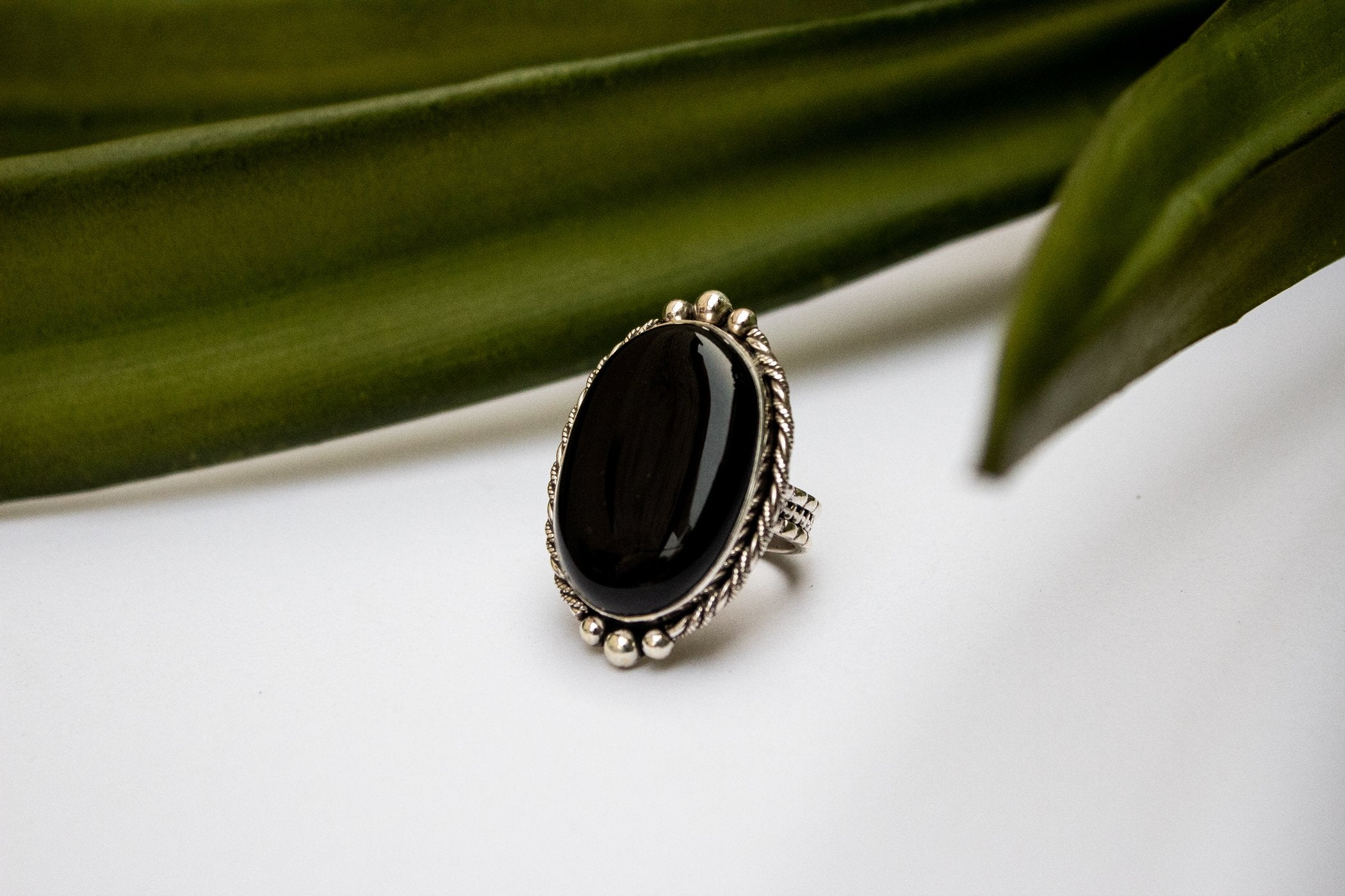 Black Onyx Ring 925 Sterling Silver AR-3004 - Its Ambra