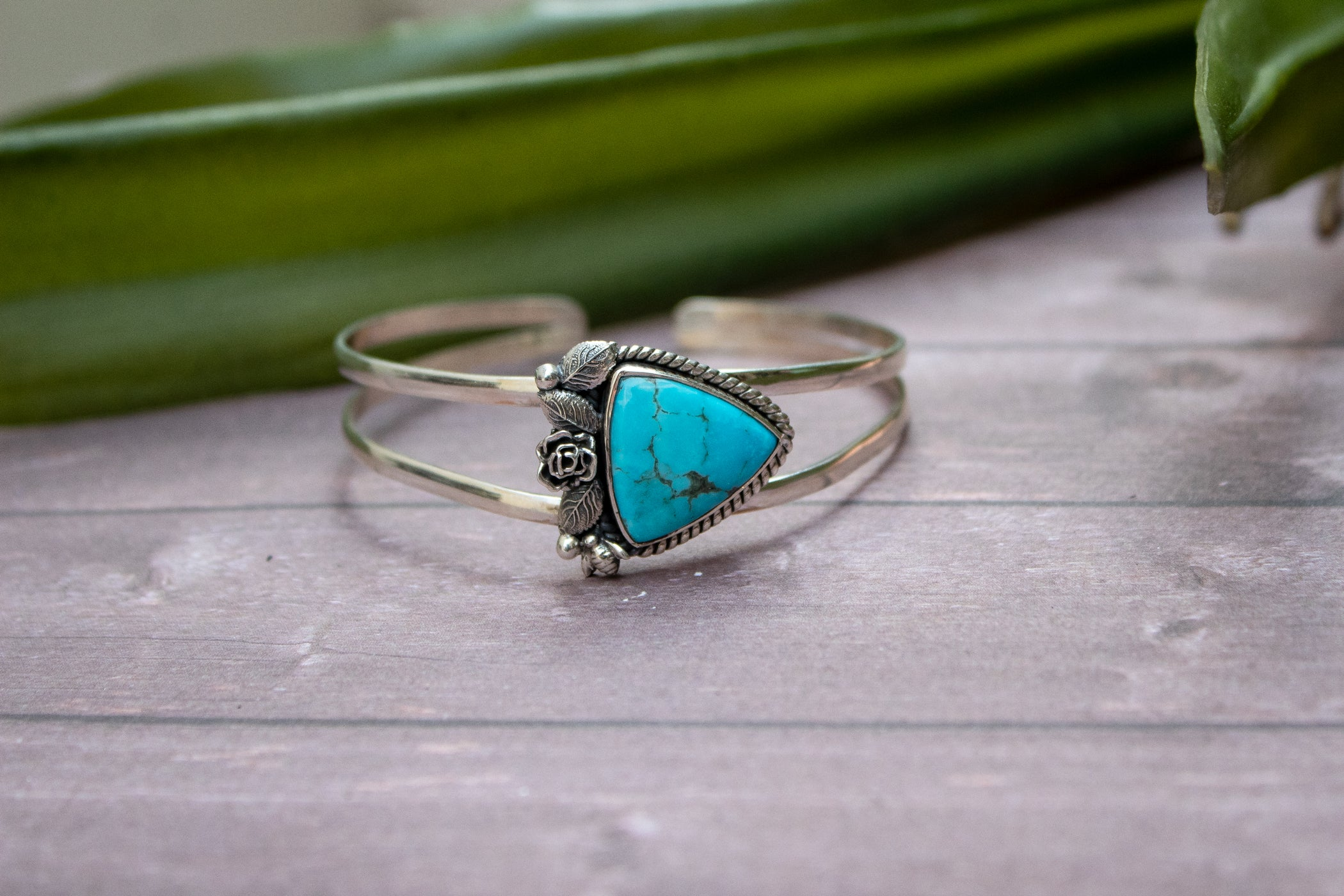 Floral Turquoise Cuff Bracelet, AB-3017