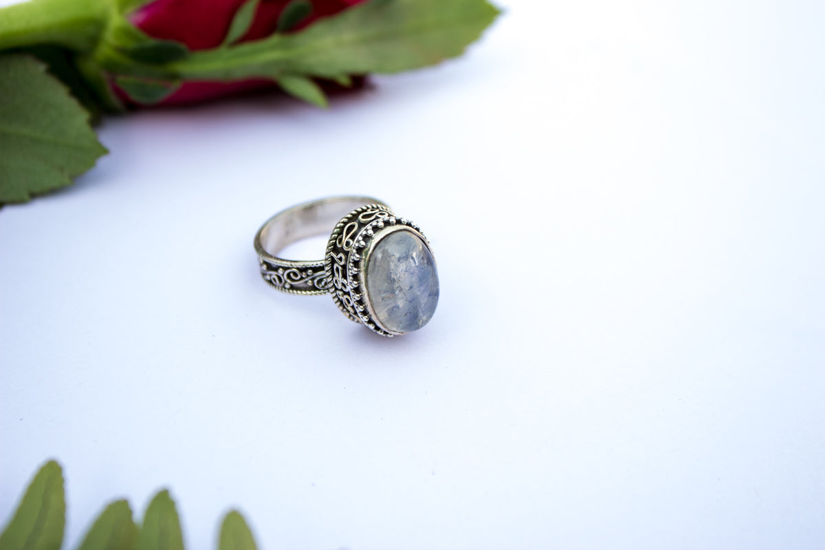 Moonstone Ring, Natural Moonstone Gemstone 925 Sterling Silver Ring, Moonstone Jewelry, Fertility Ring, June Birthstone Ring AR-1115