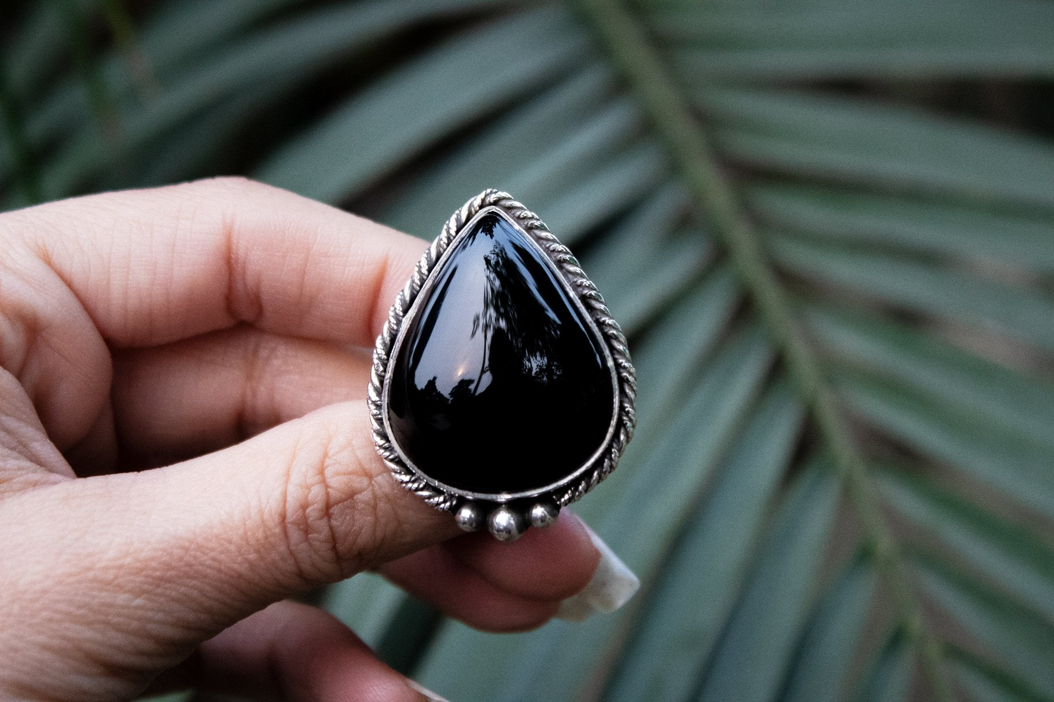 Handmade Pear Shaped Sterling Silver Black Onyx Ring AR-3007