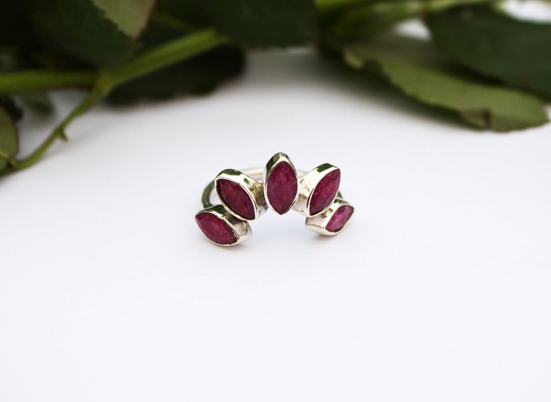 Ruby Ring, Red Ruby Gemstone Pure 925 Sterling Silver Ring, July Birthstone Ring, Boho Ring, Crown, Handmade Jewelry AR-1231