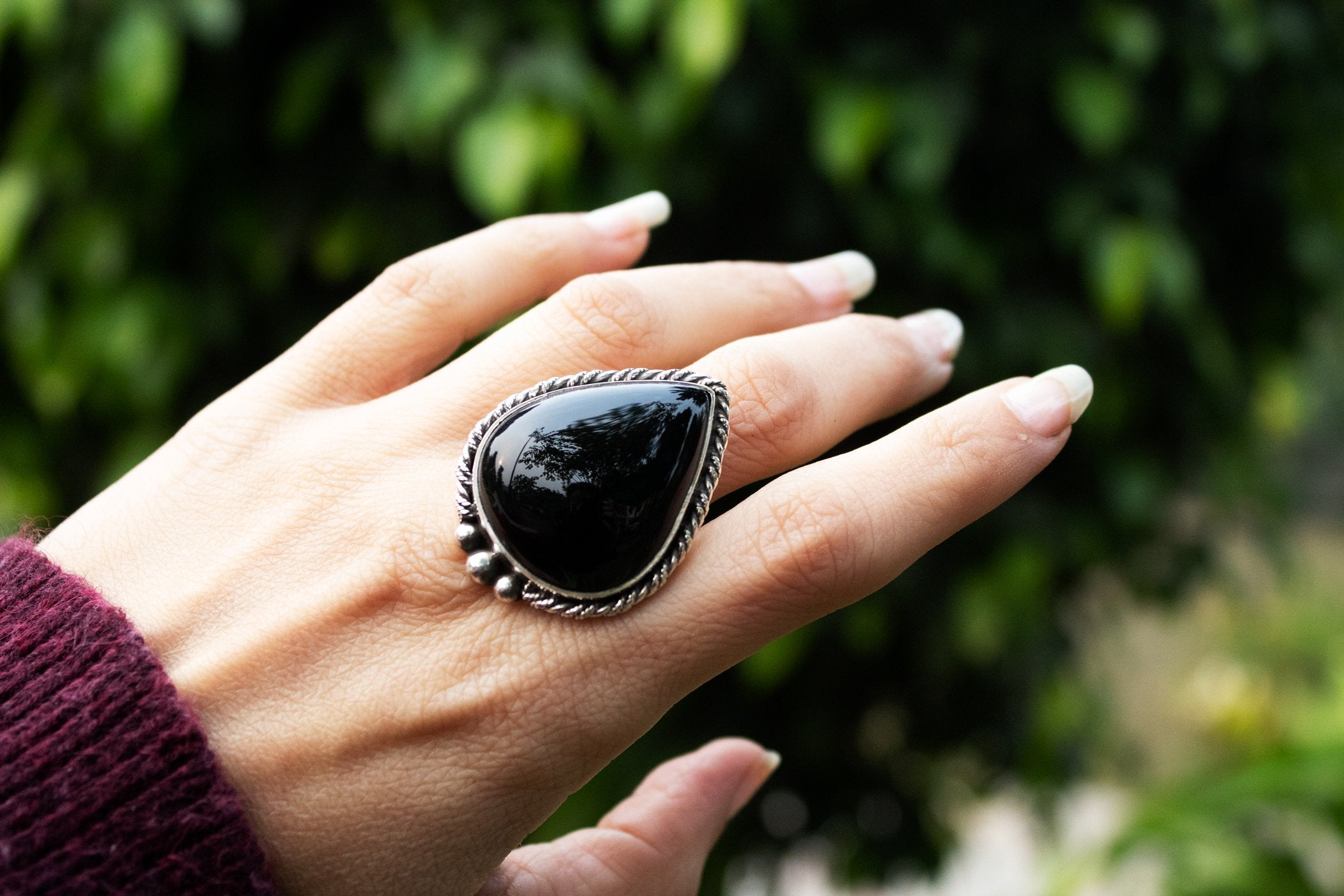 Handmade Pear Shaped Sterling Silver Black Onyx Ring AR-3007 - Its Ambra