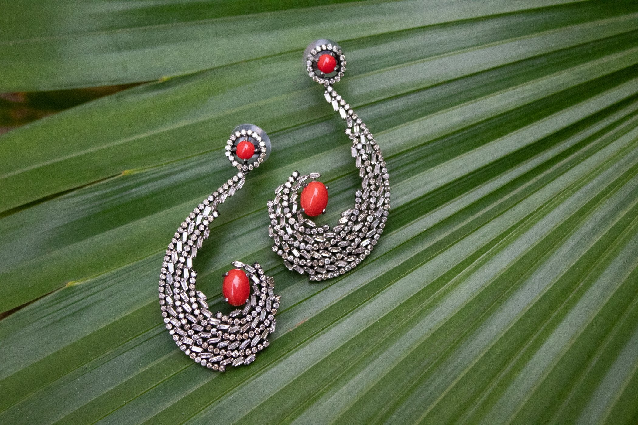 925 Sterling Silver Red Coral and Diamond Earrings AE-1223
