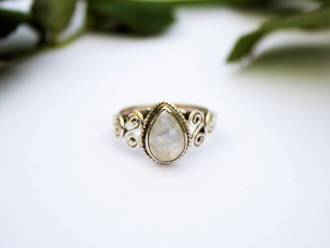 Jewelry BMR49 Ring Size US 7.5 Two Tone Ring Meditation Ring Wedding Ring Handcrafted Ring Rainbow Moonstone Ring Spinner Ring Gemstone Ring