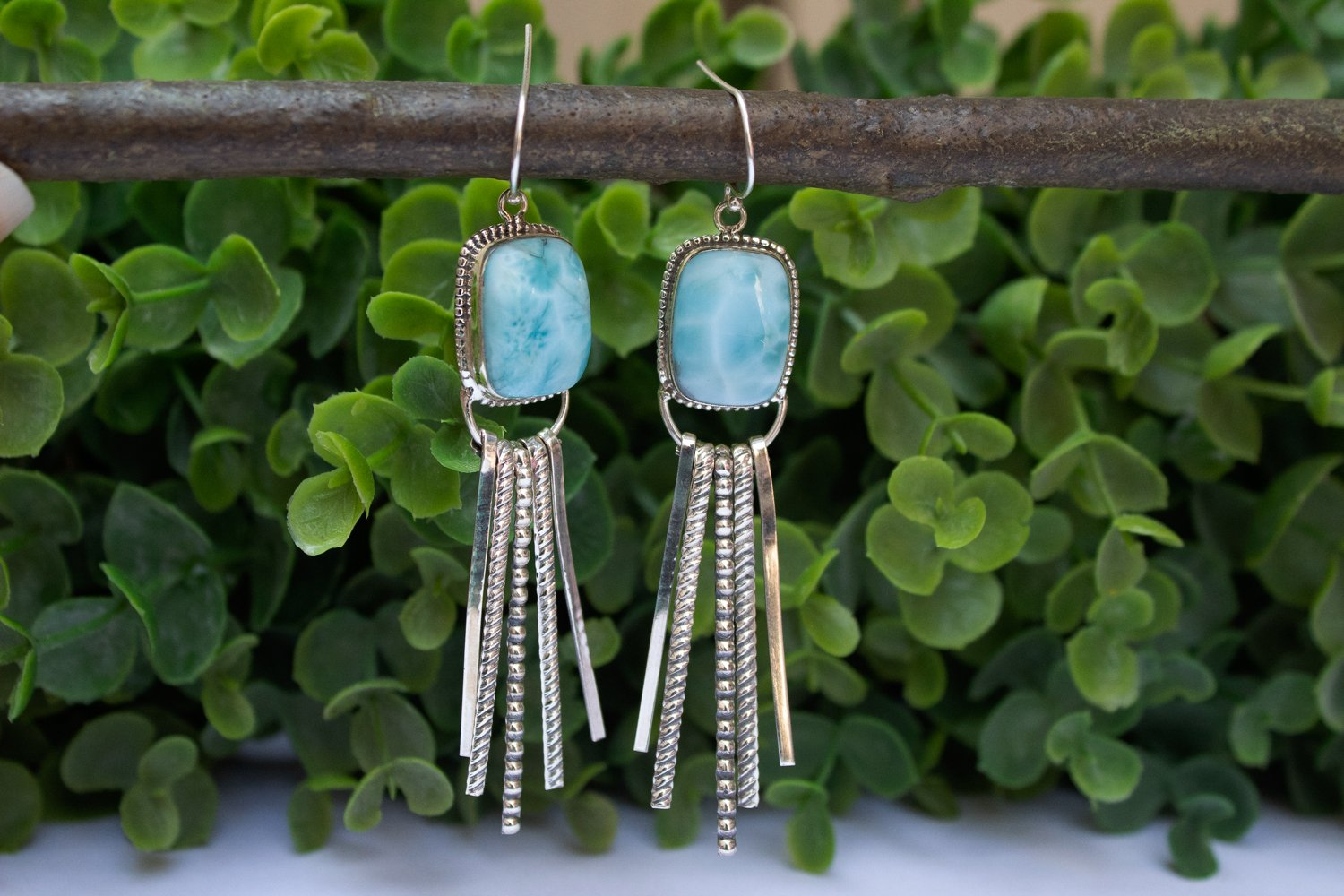 Handmade Sterling Silver Larimar Fringe Earrings AE-1041 - Its Ambra