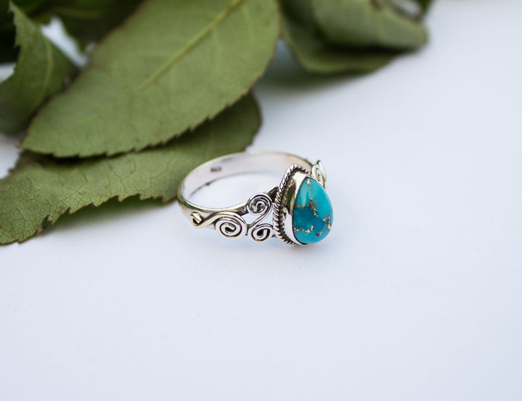Pear shape Blue Copper Turquoise Sterling Silver Ring, Turquoise Ring, Handmade Ring, Boho Ring, Bohemian Ring AR-1086