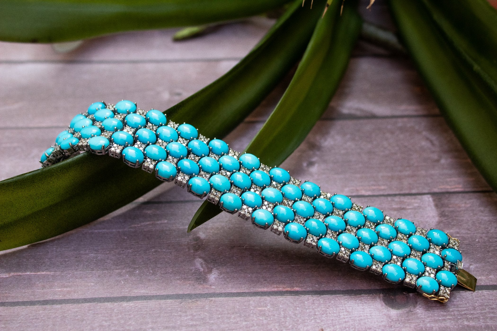 Sleeping Beauty Turquoise Genuine Diamond Bracelet AB-2082