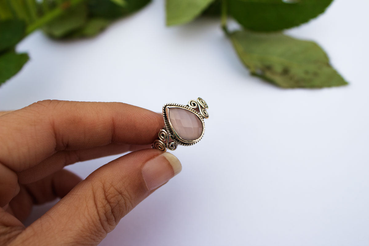 Rose Quartz Ring, Sterling Silver Rose Quartz Gemstone Ring, Handmade Ring, Pale Pink Stone Ring, Boho, Rose Quartz Jewelry AR-1248