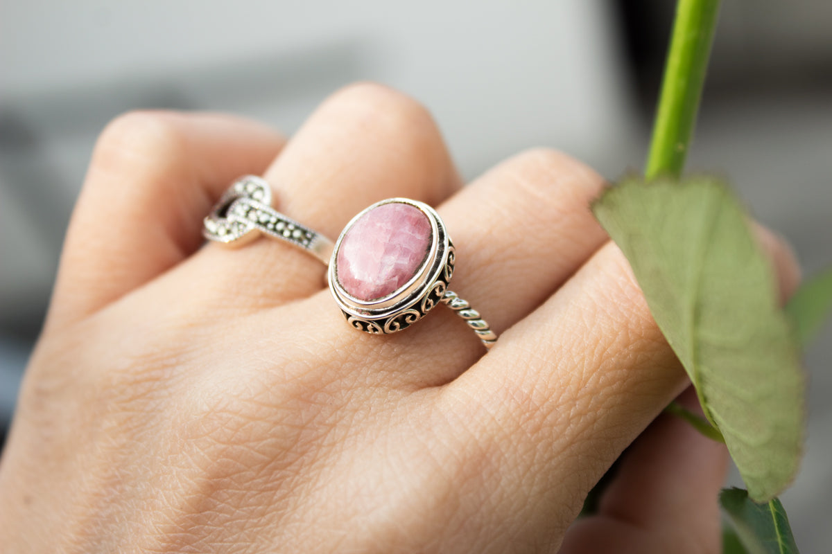 Rhodochrosite Ring, Natural Pale Pink Stone Ring, Rhodochrosite Sterling Silver Ring, Handmade Ring, Boho Ring, Bohemian Ring, Rhodochrosite Jewelry AR-1243