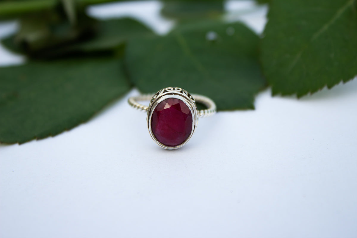 Ruby Ring, Ruby Gemstone Sterling Silver Ring, Gemstone Ring, Handmade Ring, 925 Silver Ring, Boho Ring AR-1245