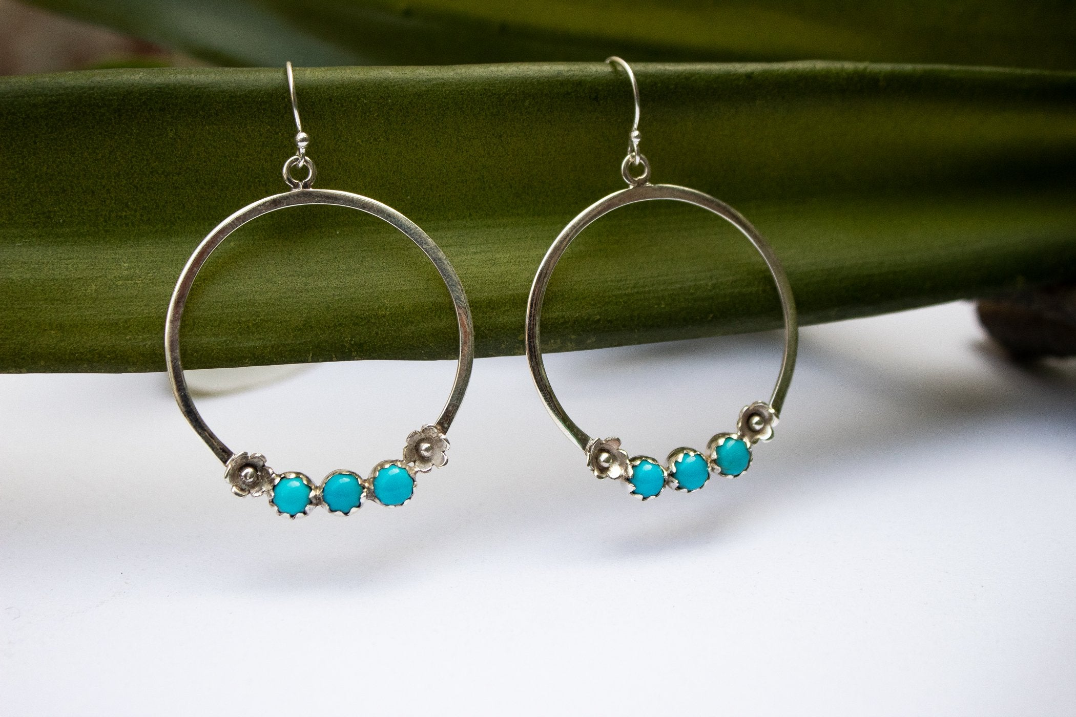 Sterling Silver and Sleeping Beauty Turquoise Hoops, AE-2076