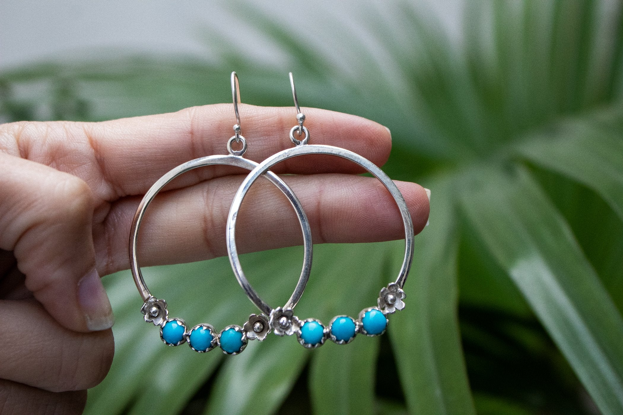 Sterling Silver and Sleeping Beauty Turquoise Hoops, AE-2076 - Its Ambra