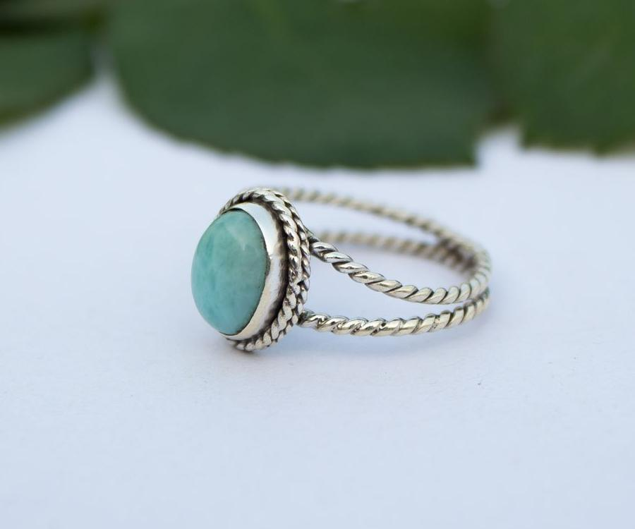 Larimar Ring Rope Band Sterling Silver Ring AR-1190 - Its Ambra