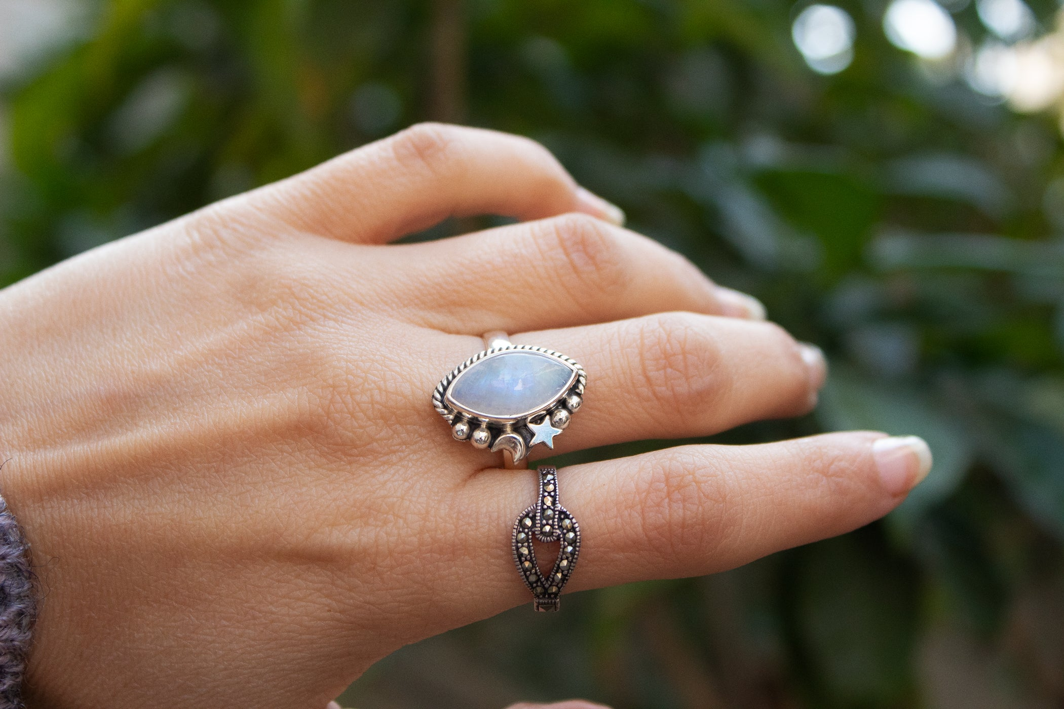 Marquise shape Moonstone Crescent Moon Ring, AR-3024
